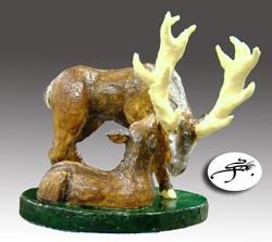 sculpture en chocolat ; le cerf et la biche