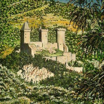 peinture en chocolat : Foix et son château