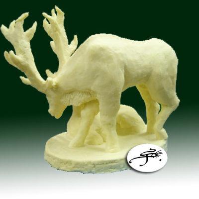 sculpture en chocolat : le cerf et la biche